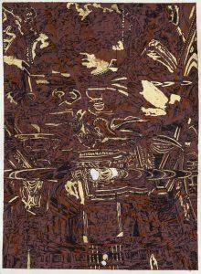 Carta inchiostro,foglia d'oro 9